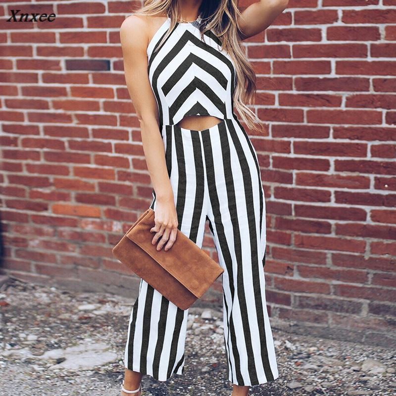 Women Fashion Front Hollow Jumpsuits Femme Loose Striped Loose Rompers Wide Leg Trousers Halter Neck Sleeveless Summer Jumpsuit in Jumpsuits from Women 39 s Clothing