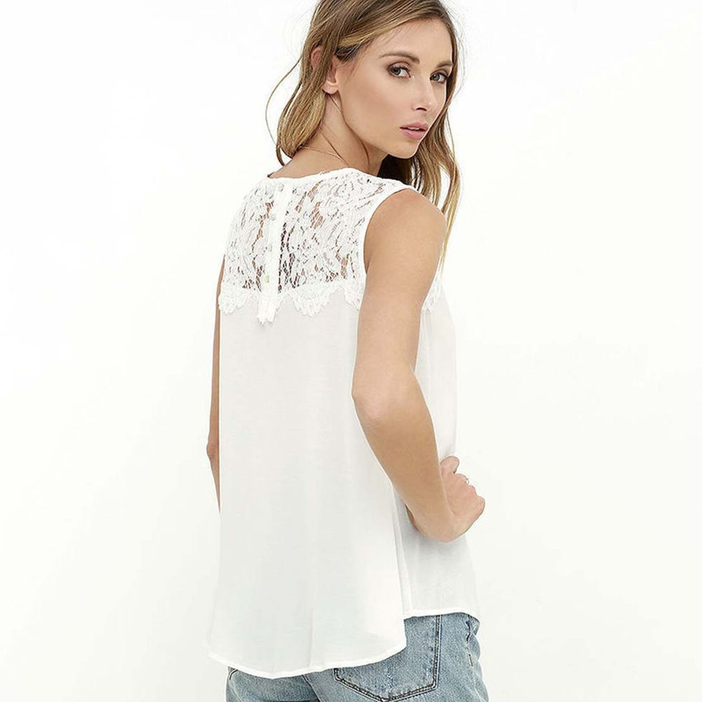 11569a871a Women's Summer Lace Sleeveless Chiffon Blouse Casual Loose Tank Top T Shirt  -in Tank Tops from Women's Clothing on Aliexpress.com | Alibaba Group