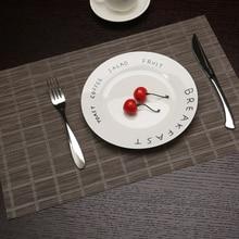2 pcs 45X30cm Fashion Placemat Plaid PVC Dining Table Mat Brown Black Placemats Decoration Accessories