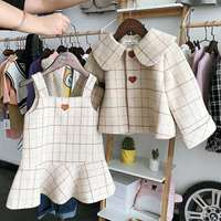 2pcs WLG autumn winter girls clothing set kids plaid thick coat and dress set baby casual beige clothes children 2 7 years old