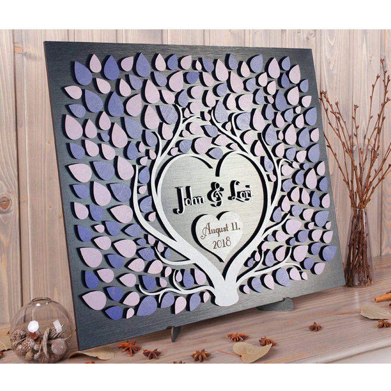 Modern Wedding Guest Book Alternative Two Trees Grow Into One Rustic Wedding Guestbook 3d Sign Custom Wedding Decoration