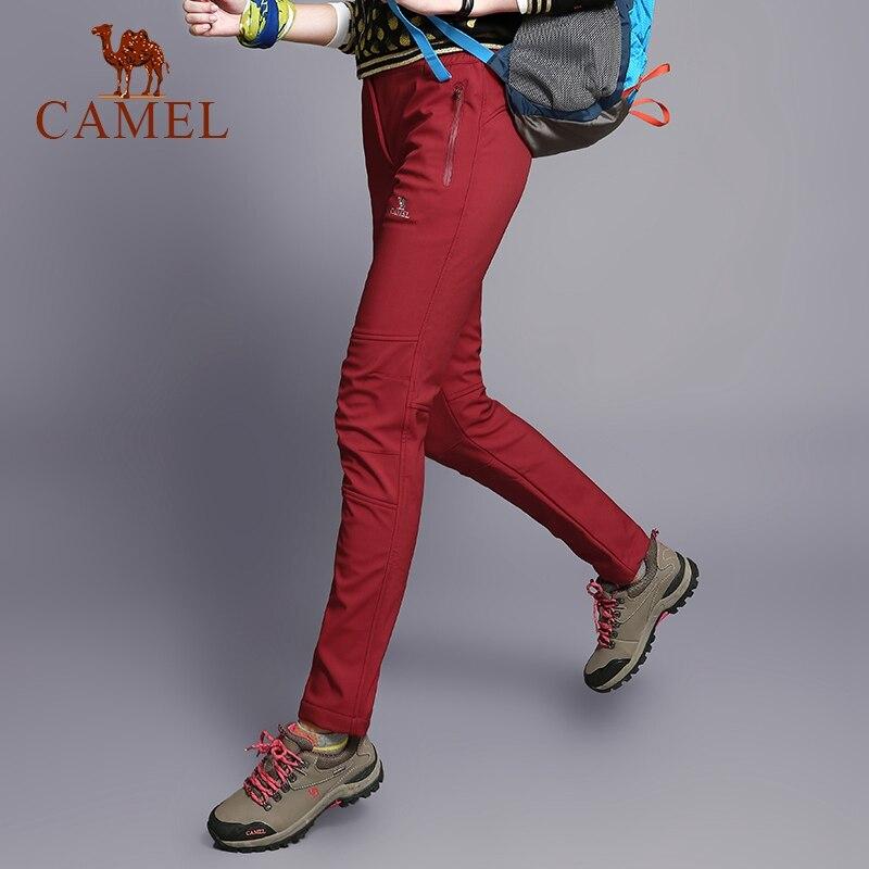 CAMEL Women Men Outdoor Hiking Pants Waterproof Windproof Warm Fleece Inner Softshell Trousers Tactical Trekking Pants