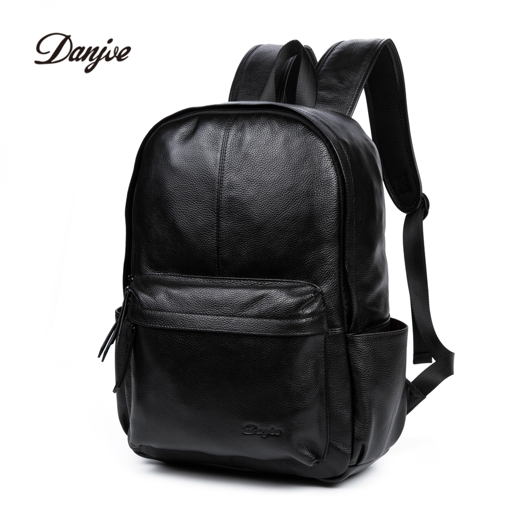 DANJUE Genuine Leather Men Backpack Large Capacity Male Travel Bags High Quality Trendy Business Bag For Man Leisure Laptop Bag large men s backpack fashion male 14 inches laptop bag travel bags high quality top leather men waterproof backpacks aw282