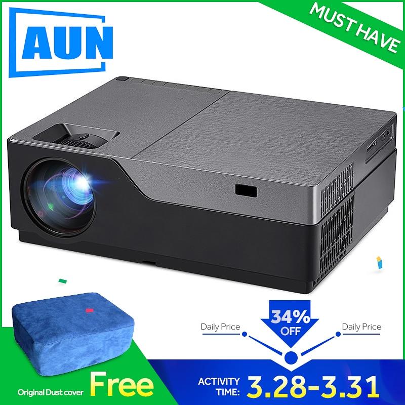 AUN proyector Full HD de 300 pulgadas de Teatro en Casa 1920x1080 P LED proyector soporte AC3. ¡5500 lúmenes! (Opcional Android WIFI) M18