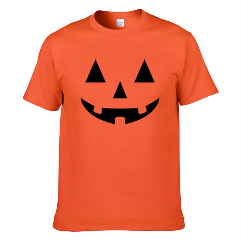Halloween Jack O' Lantern Pumpkin Face T Shirt Adult Men Women O-neck Cotton T-shirt Short Sleeve Shirts