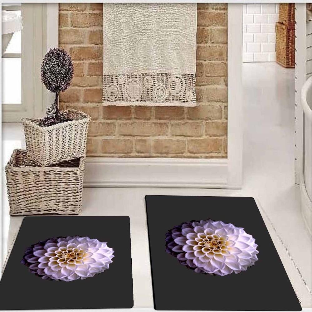 Autre sol noir blanc violet fleur Floral 2 pièces 3d motif impression tapis de bain antidérapant doux lavable tapis de salle de bain tapis de toilette