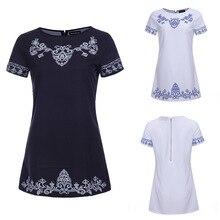 Новый летний Для женщин платье О-образным вырезом с коротким рукавом Национальный Стиль Печатные Для женщин Повседневная одежда vestidos мини-платье Vintage BOHO черный