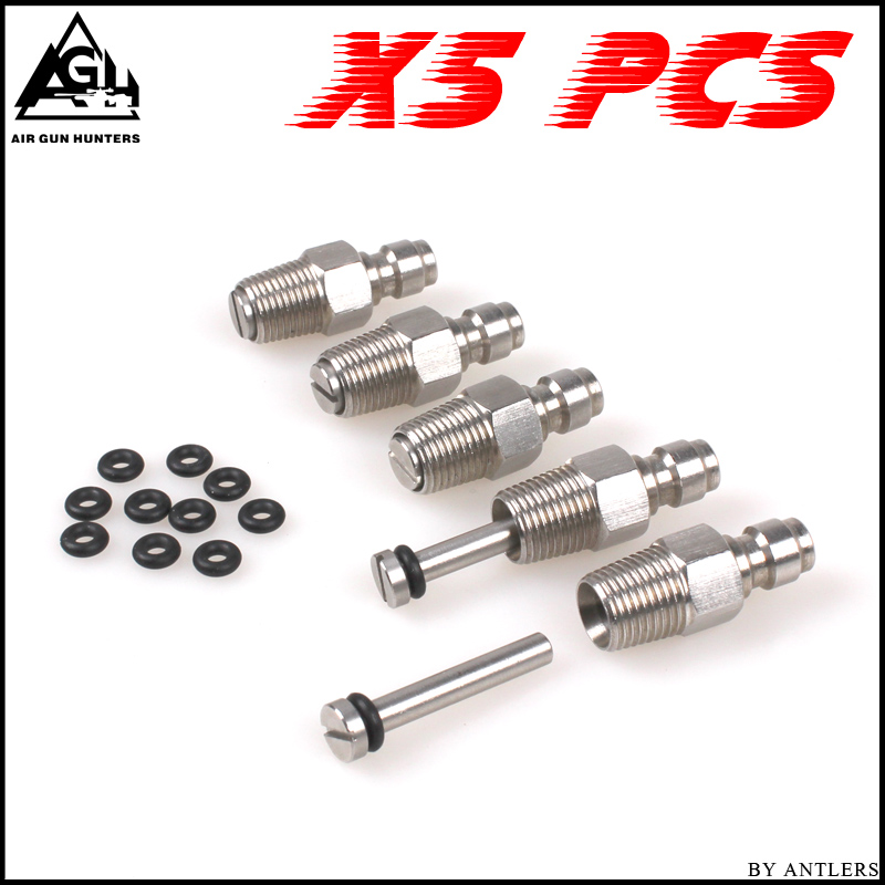 Paintball PCP Filling Nipple Stainless Steel 8mm Air Tank Quick Release Coupler Plug With One Way Foster 1/8NPT 10PCS Oring Free