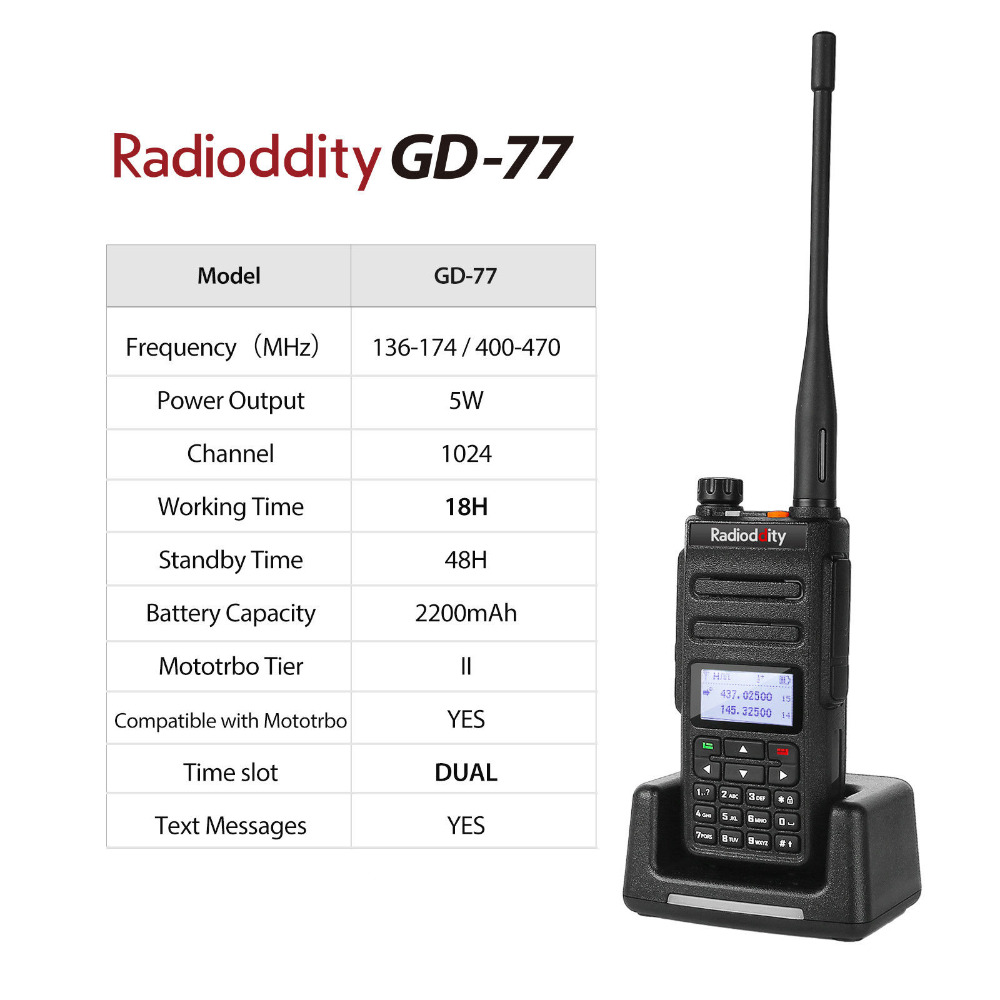 Image 5 - Radioddity GD 77 DMR Dual Time Slot Dual Band  Digital/Analog Two Way Radio 136 174 /400 470MHz Ham Walkie Talkie with Battery-in Walkie Talkie from Cellphones & Telecommunications