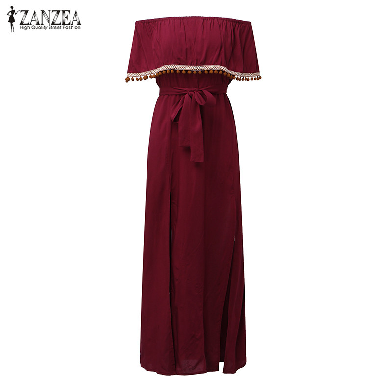 2018 ZANZEA Women Slash Neck Off Shoulder Ruffles Sleeve Split Maxi Long Dress Summer Evening Party Vintage Vestido Plus Size