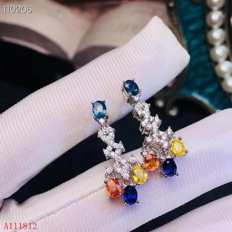 KJJEAXCMY gioielli 925 puro argento intarsiato naturale di colore zaffiro della signora Orecchini supporto di rilevamento-in Orecchini da Gioielli e accessori su  Gruppo 1