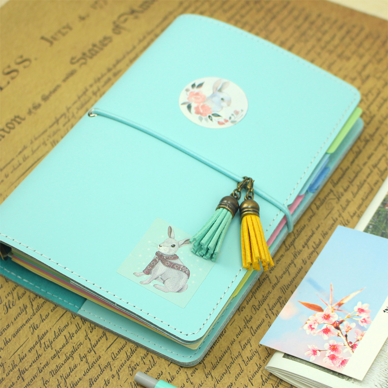 2018 Yiwi Travel Booklet Loose-leaf a6 Creative P Diary Notebook Stationery Book Japanese Cute Notepad 2018 yiwi never stationery rose standard six hole notebook handbook loose leaf page separator page index page