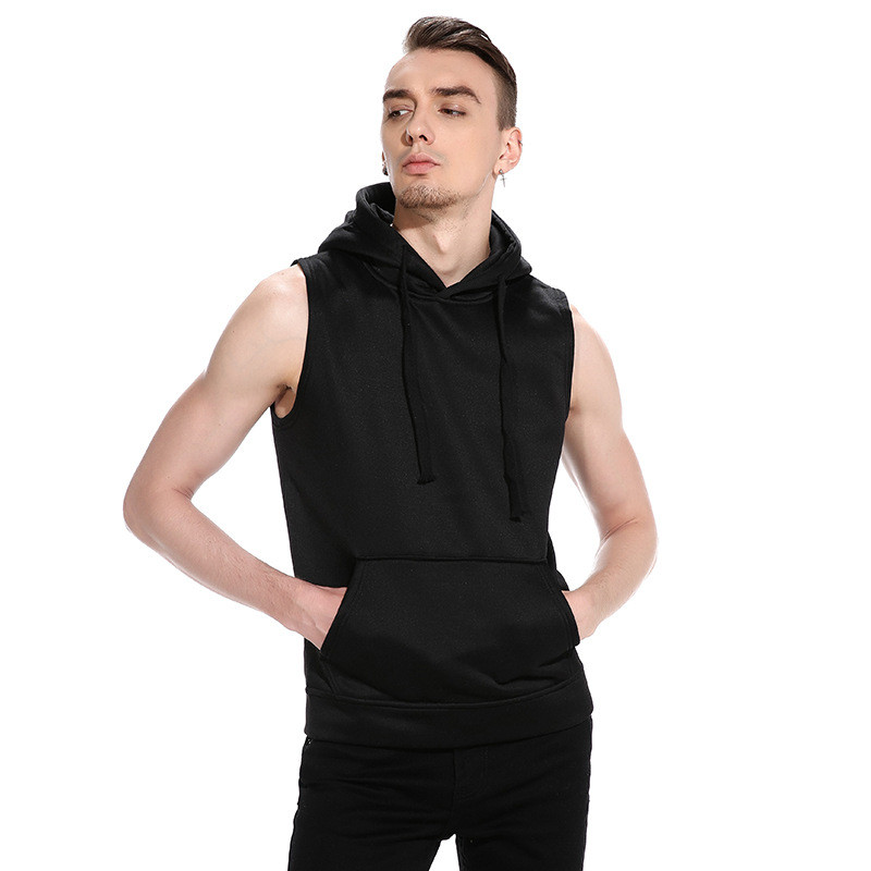 New 2018 Autumn Men Casual Slim Fit Basic Hooded Pullover Sleeveless Vest Waistcoat Hoodies Sweatshirt Tracksuits Top Streetwear