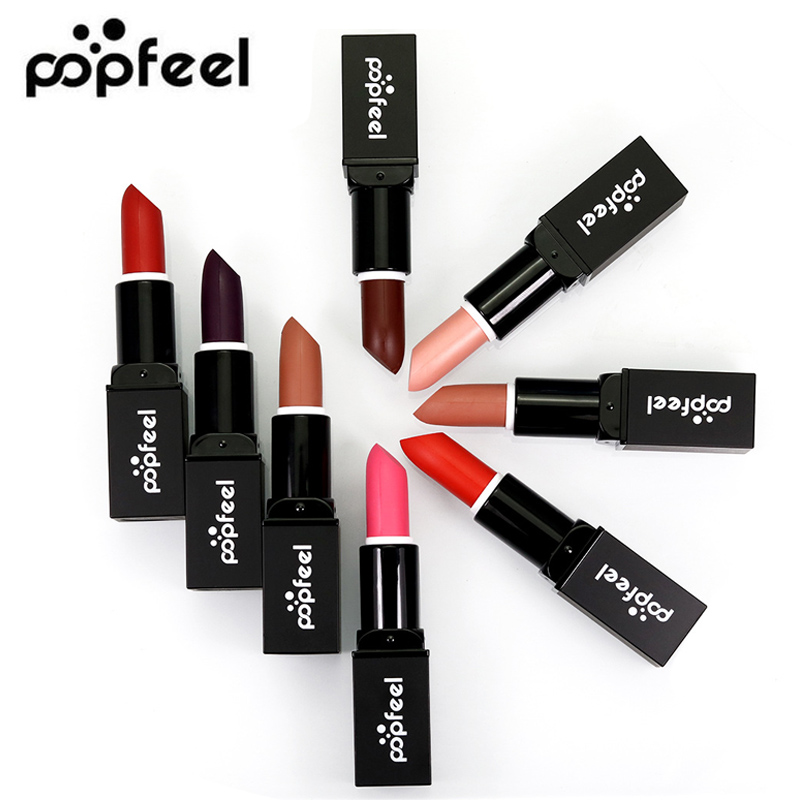 Popfeel Lip Stick Moisturizer Lipsticks Waterproof Long-lasting Easy To Wear Cosmetic 8 Colors Nude Makeup Set Lips
