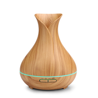 400ml Humidifier Aroma Diffuser Flower Vase Silent Colorful Night Light Air Fresher Humidifier with EU Plug (Light Wood Grain)