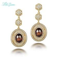 l zuan 925 Sterling Silver Fashion Earrings 5 36ct Smoky Crystal Brown Stone Drop Earring Jewelry