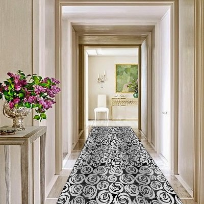 Else Gray Black Roses Flowers Scandinavian 3d Print Non Slip Microfiber Washable Long Runner Mats Floor Mat Rugs Hallway Carpets