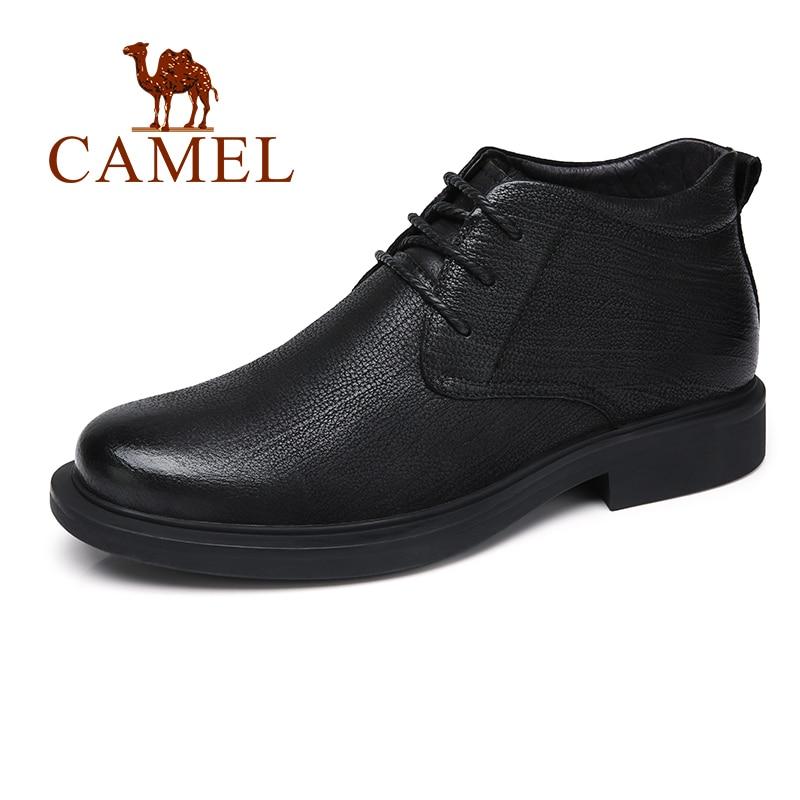 CAMEL Men Boots With Fur Genuine Leather Winter Business England Retro Black Fashion Man Shoes botas