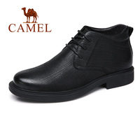 CAMEL Men Boots With Fur Genuine Leather Winter Business England Retro Black Fashion Man Shoes botas hombre invierno