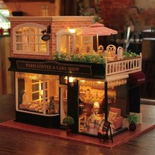 Diy house diy Coffee Shop France Tour Large Handmade Model House Valentine's Day Birthday Gift. цена