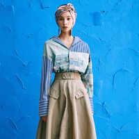Frühling frauen lange shirts feminino Vintage Ölgemälde Drucken streifen Patchwork Lose Beiläufige blusen maxi größe shirts NS749