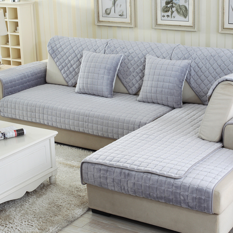 Solid Plush Corner Sofa Cover Modern Anti Slip Sofa Bed