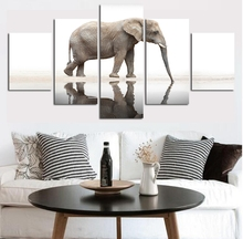 Canvas Animal Posters Home Decor Framework Top-Rated Canvas Printed Modular Pictures 5 Pieces Elephant Paintings Wall Art top posters холст top posters 50х75х2см g 1044h