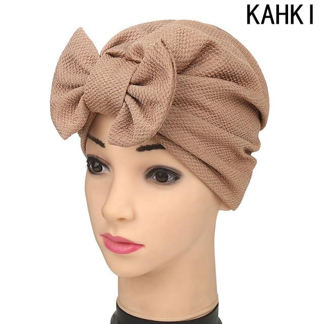 Women New Big Bow Turban Women s Hats India Europe Style Fashion Headdress  Luxury Stylish Chemo Cap Women Bowknot Hat 46eb08509d2