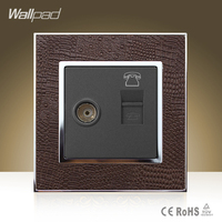 Hot Selling Wallpad Luxury TV RJ11 Socket Goats Brown Leather Cover Television Telephone Jack Wall Socket