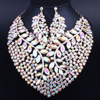 Peacock Feather Design Luxious Bling Crystal Statement Necklace Earring for Women Christmas Party Bridal Jewelry sets FCN029 2
