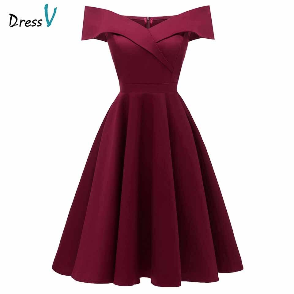 Dressv бордовый платье для коктейля дешево с плеча с короткими рукавами выпускные платья элегантное платье для коктейля - Цвет: Burgundy