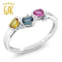 GemStoneKing Solid 10K White Gold Gemstone Ring For Women 0 70 Ctw Natural Pink Yellow Blue