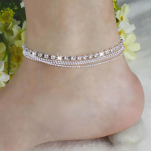 2017 Summer Multilayer Sandals Chain Crystal Charm Anklets for Women Silver Color Beads Chain Beach Foot Jewelry
