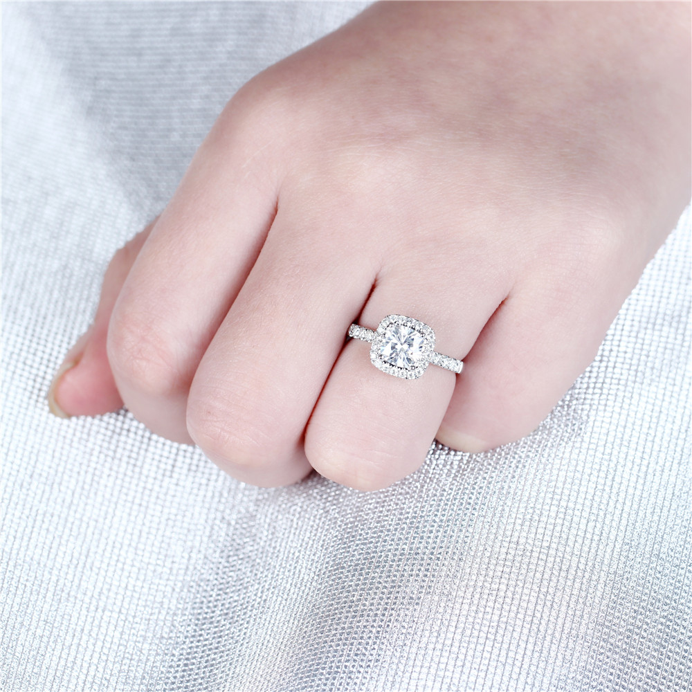 Image 5 - DovEggs 10K White Gold 1.4CTW 6*6mm F/GH Color Cushion Cut Moissanite Halo Engagement Ring with Accents for WomenRings   -