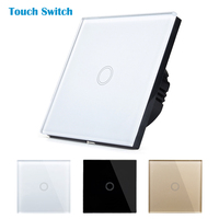 New Type Touch Switch White Black Gold Crystal Glass Switch Panel Single Fire LED Indicator Wall