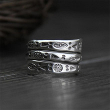Real Pure 999 Sterling Silver Rings For Women Multilayers Handmade Engraved Flowers Eyes Triangle Geometric Pattern Ethnic