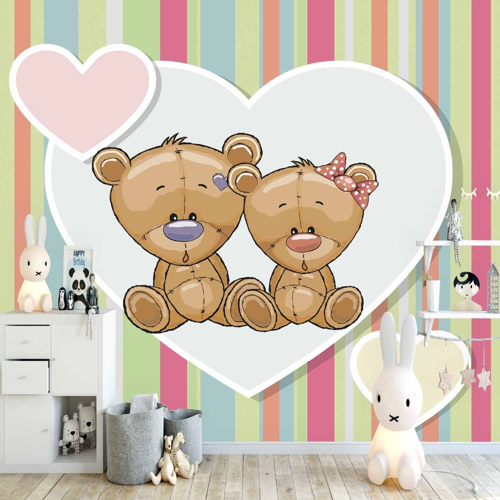Else Pink Blue Lines Stripes Teddy Bear Hearts 3d Print Cartoon Cleanable Fabric Mural Kids Children Room Background Wallpaper
