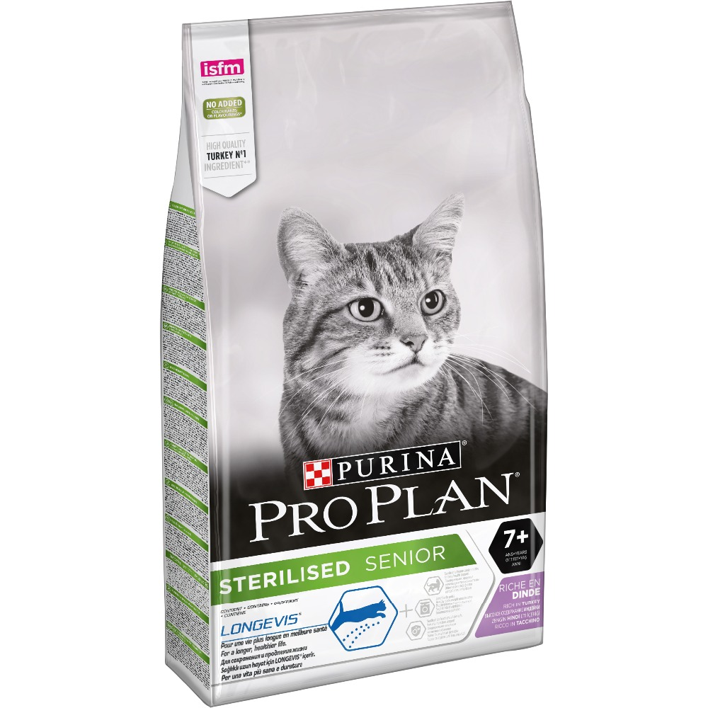 Pro Plan dry food for sterilized cats and neutered cats over 7 years old, with turkey, Package, 10 kg pro plan delicate senior dry food for adult cats over 7 years old with sensitive digestion with turkey package 3 kg