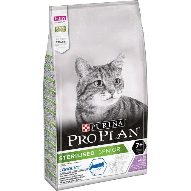 Корм для кошек Purina Pro Plan, для стерилизованных кошек и кастрированных котов старше 7 лет, с индейкой, Пакет, 10 кг