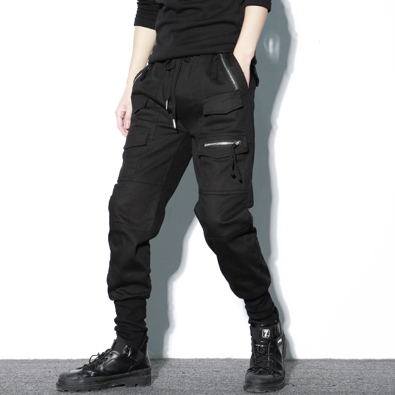 Image 2 - Брюки шаровары мужские, хлопковые, черные, на молнии, с  карманами, повседневные, тонкие, весенниеПовседневные брюки   -