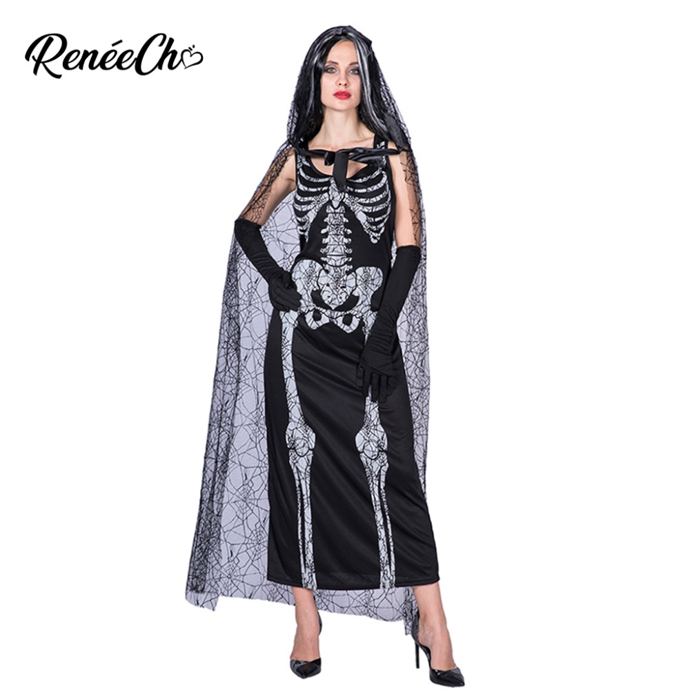 Reneecho Halloween Costume For Women Adult Spider Wed Cape Scary Bone Black Long Dress Cosplay Woman Skeleton Costume Costume