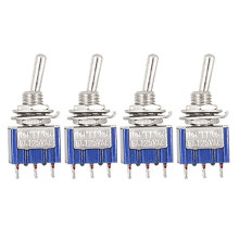 UXCELL 4 Pcs Ac 125V 6A 3 Pin Spdt On/Off/On 3 Position Mini Toggle Switch Blue 100pcs toggle switch 6a 125vac 3 pin spdt on on gq