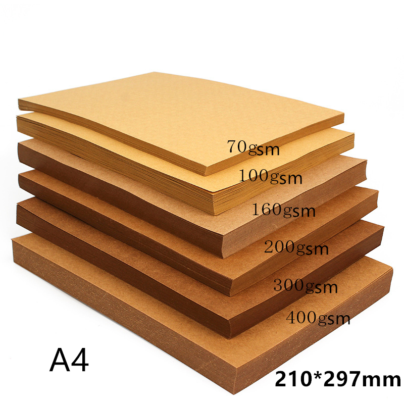 70-200gsm 10/20/50pcs High Quality A4 Brown Kraft Paper DIY Handmake Card Making Craft Paper Thick Paperboard Cardboard