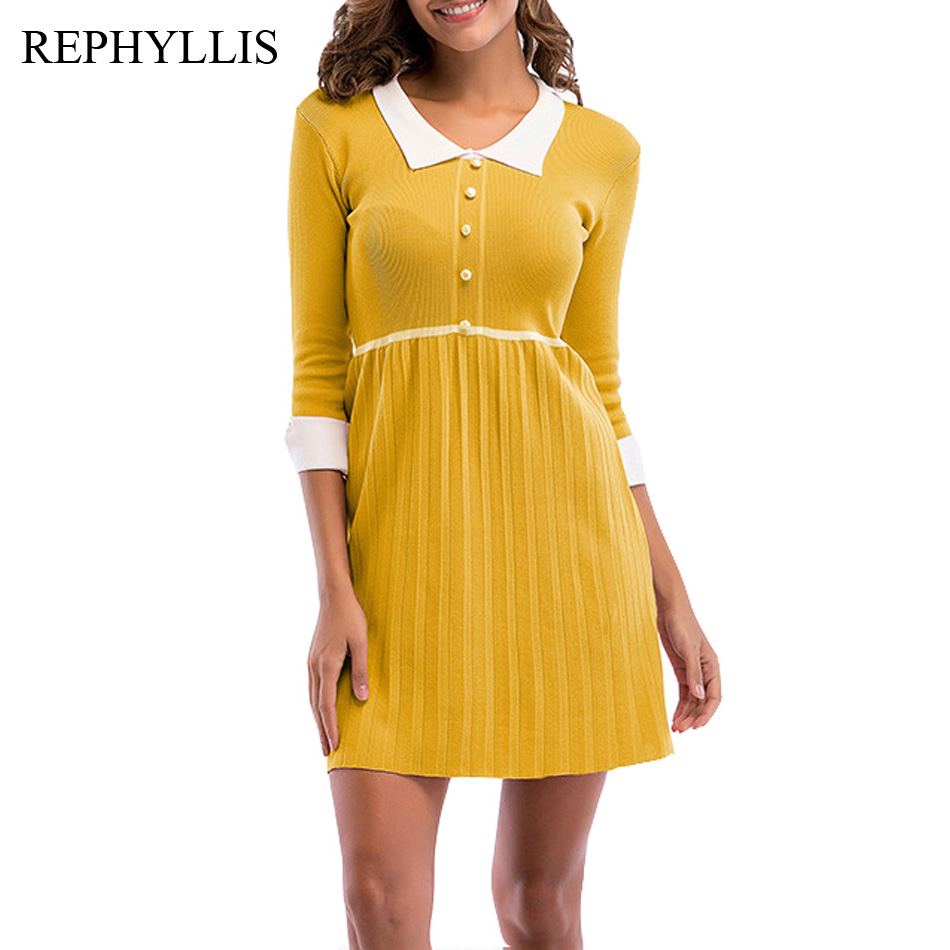 REPHYLLIS Women Fashion Turn Down Neck 3/4 Sleeve Button Cocktail Party Casual Work Holiday Knitting Patchwork Swing Dress