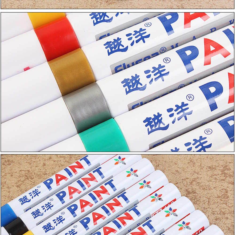1 piezas marcador impermeable permanente marcador neumático de coche neumático CD permanente Metal pintura Graffiti grasa marcador pluma