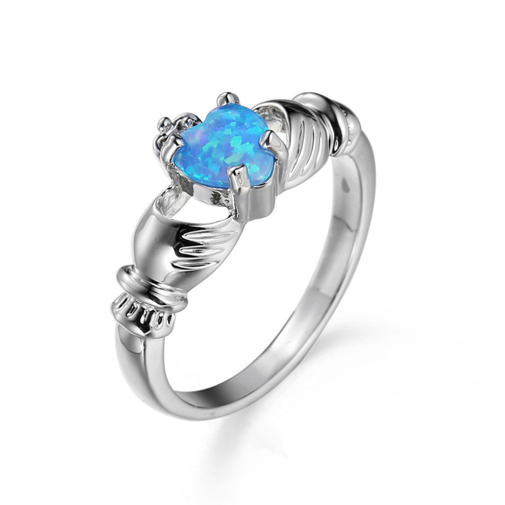 Elegant Heart Cut Blue Opal Ring Fashion Wedding Jewelry Filled Engagement Promise Rings Size 6,7,8,9,10 Free Shipping