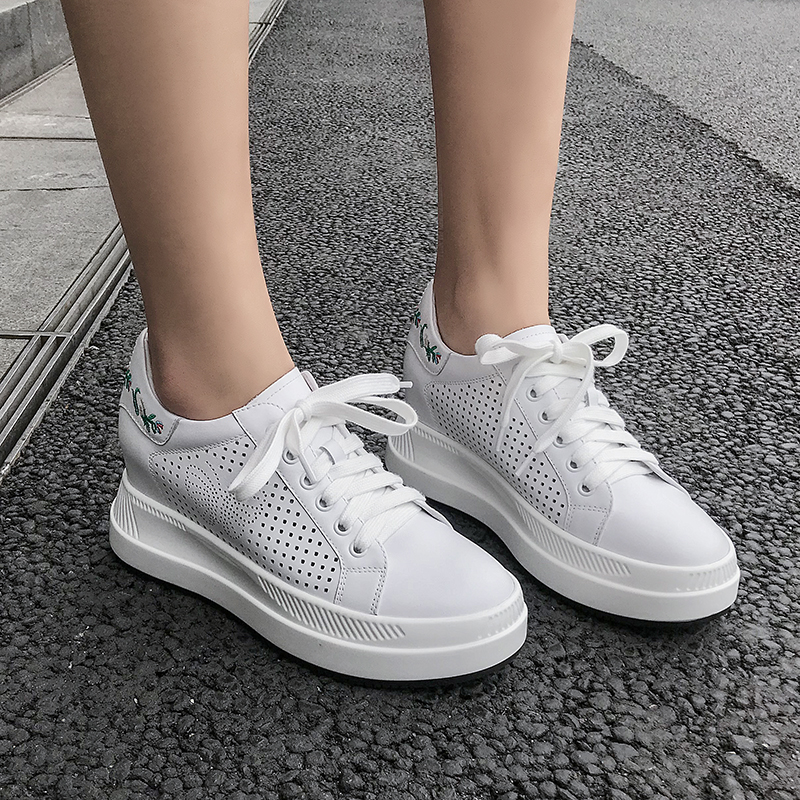 Height Increased White Sneakers Women 2019 Spring Summer Leather Embroidery Breathable Casual Shoes 7 5cm