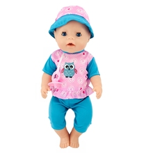 Born New Baby Fit 18 inch 43cm Clothes For Doll Blue Pink Hat Owl Doll Suit Clothes Accessories For Baby Birthday Gift born new baby fit 18 inch 43cm clothes for doll blue pink red star with hairhand clothes accessories for baby birthday gift
