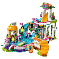 01013 Friends Heartlake Summer Swimming pool 41313 Model Building Blocks Legoings Girl Toys Bricks DIY Children Toys Gift