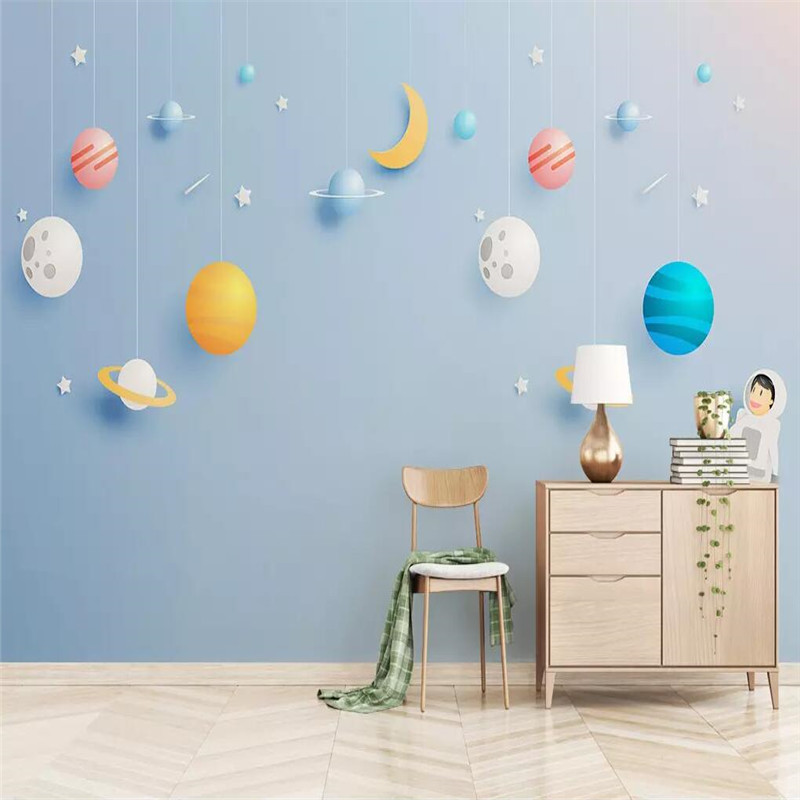 3d space universe childrens room background professional production murals wholesale wallpaper custom photo wall